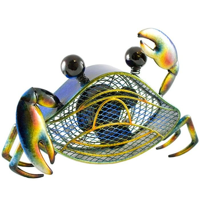 Deco Breeze Blue Crab Table Fan // Let this charming Shaped Decorative Figurine Fan brighten your day while it keeps you cool. With its decorative appeal, a Figurine Fan can easily become a permanent part of any desk, vanity, bedroom, kitchen, or bathroom decor.