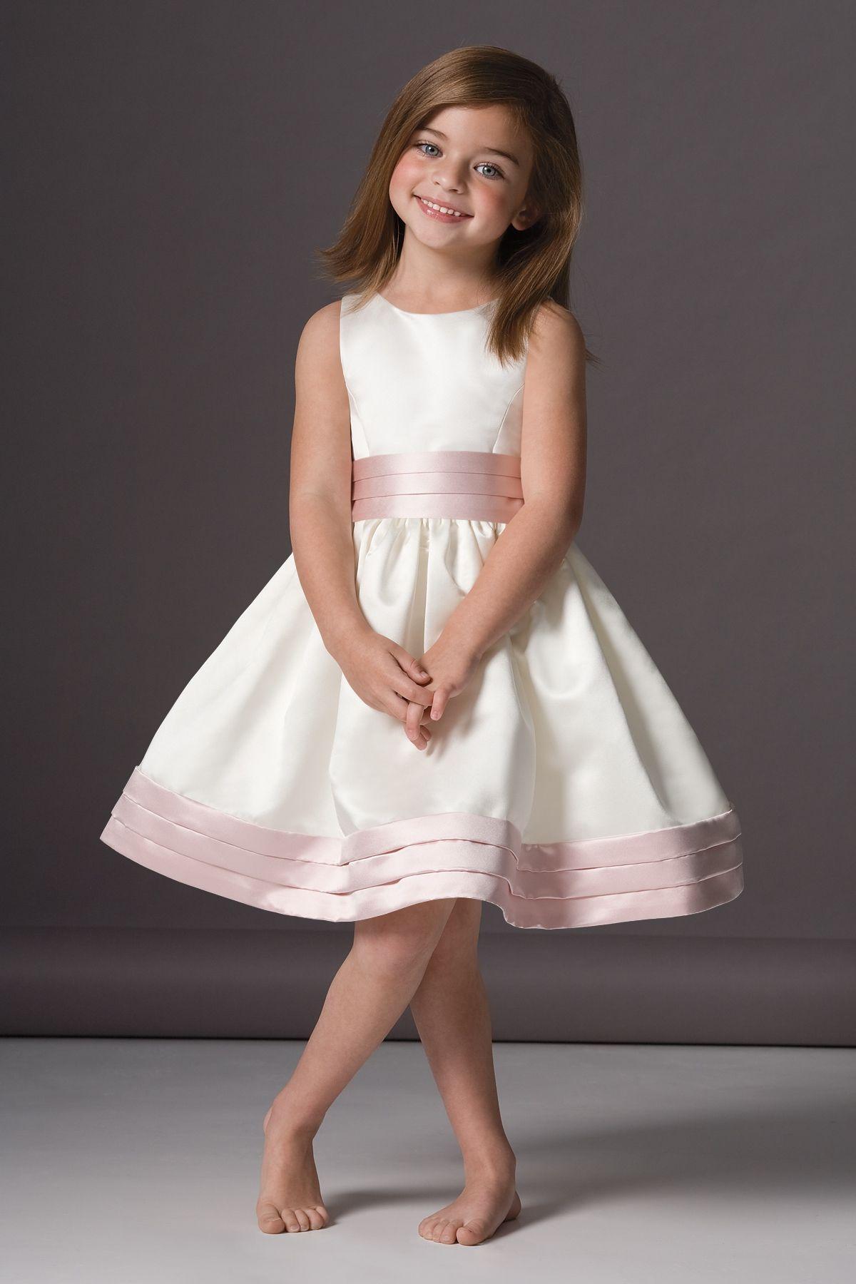 Simple Ball Gown Scoop Neckline Knee Length Satin Flower Girl