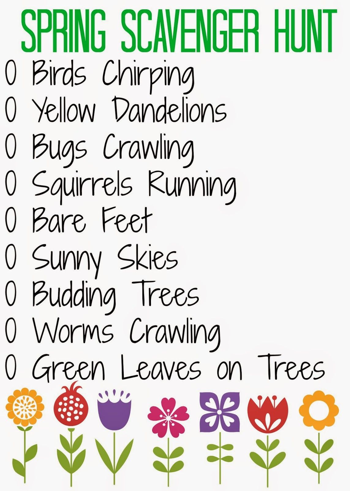 Spring Scavenger Hunt For Kids Free Printable The