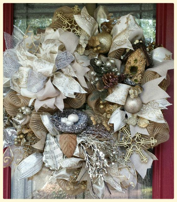 Check out this item in my Etsy shop https://www.etsy.com/listing/209655082/beautiful-creamy-christmas-burlap-wreath