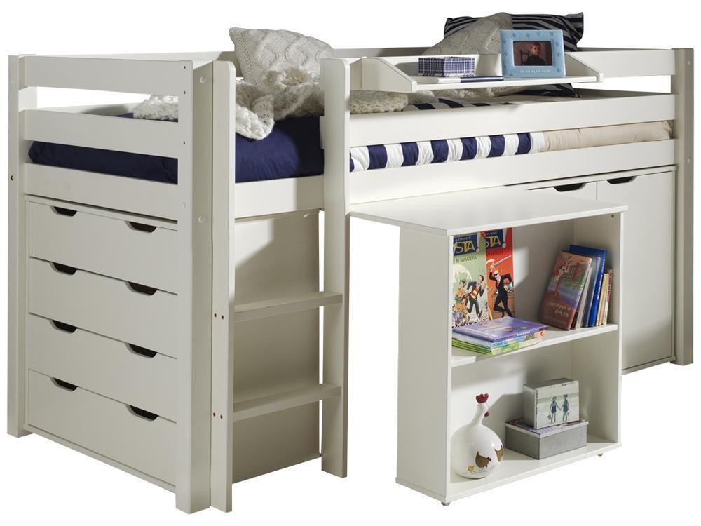 halbhochbett charlotte mit schreibtisch kommode und. Black Bedroom Furniture Sets. Home Design Ideas
