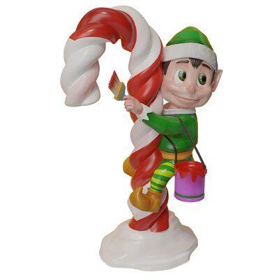 The Holiday Aisle Elf Climbing Candy Cane Figurine #lutindenoel
