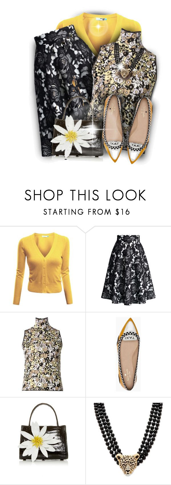 """"""";-)Taxi in Paris"""" by maison-de-forgeron ❤ liked on Polyvore featuring Doublju, Chicwish, Giamba, Kate Spade, Nancy Gonzalez and Palm Beach Jewelry"""