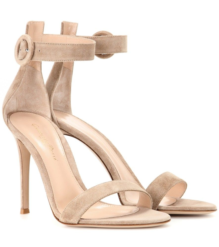 Gianvito Rossi - Portofino suede sandals - These Gianvito Rossi sandals are the perfect sleek style to complement slinky evening ensembles. We love the neutral hue and understated design, which features a circular buckle to the ankle. seen @ www.mytheresa.com