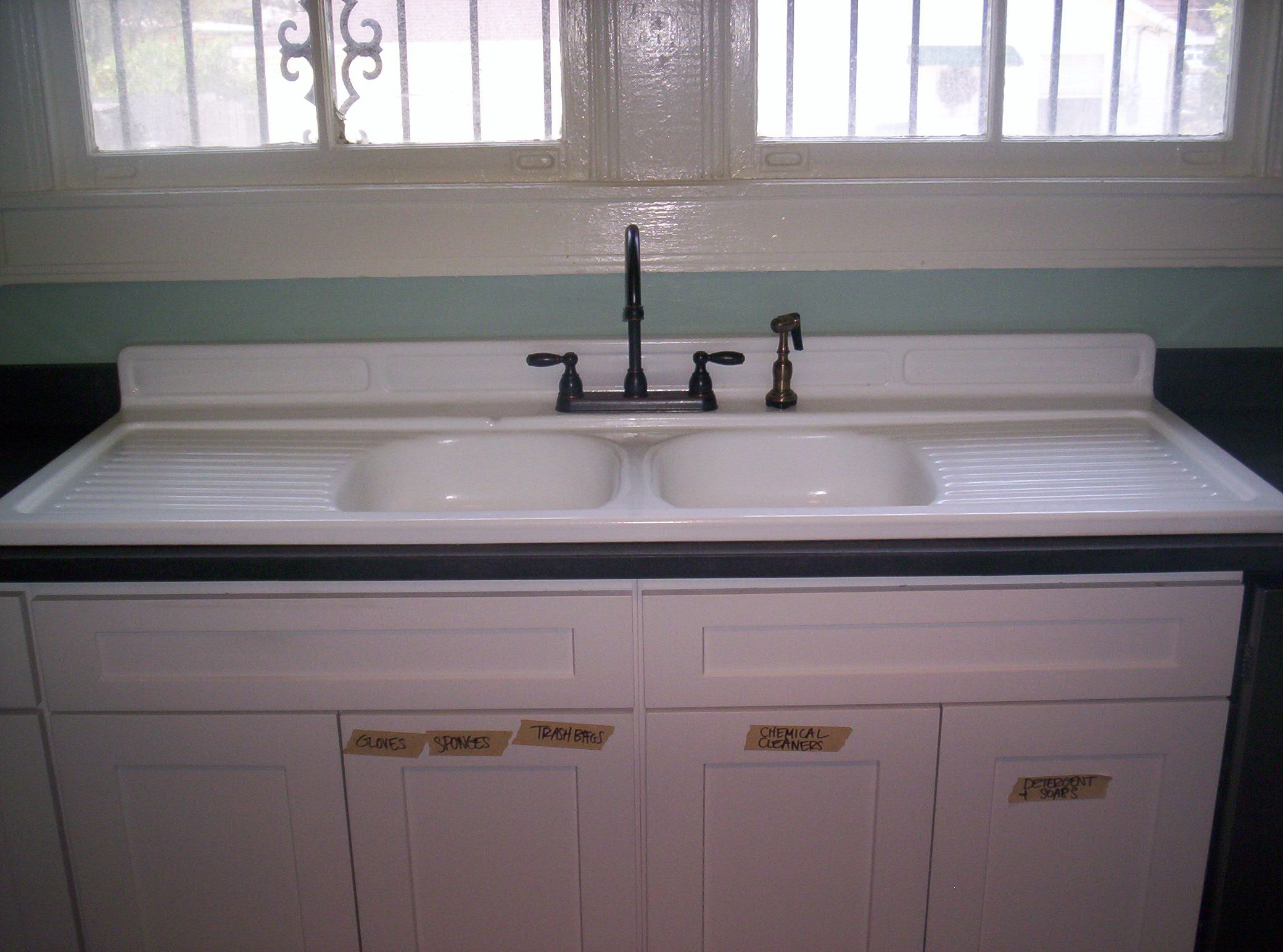 Large drop in farm sink installed in 3cm Antiqued Absolute ... on Farmhouse Granite Countertops  id=93474