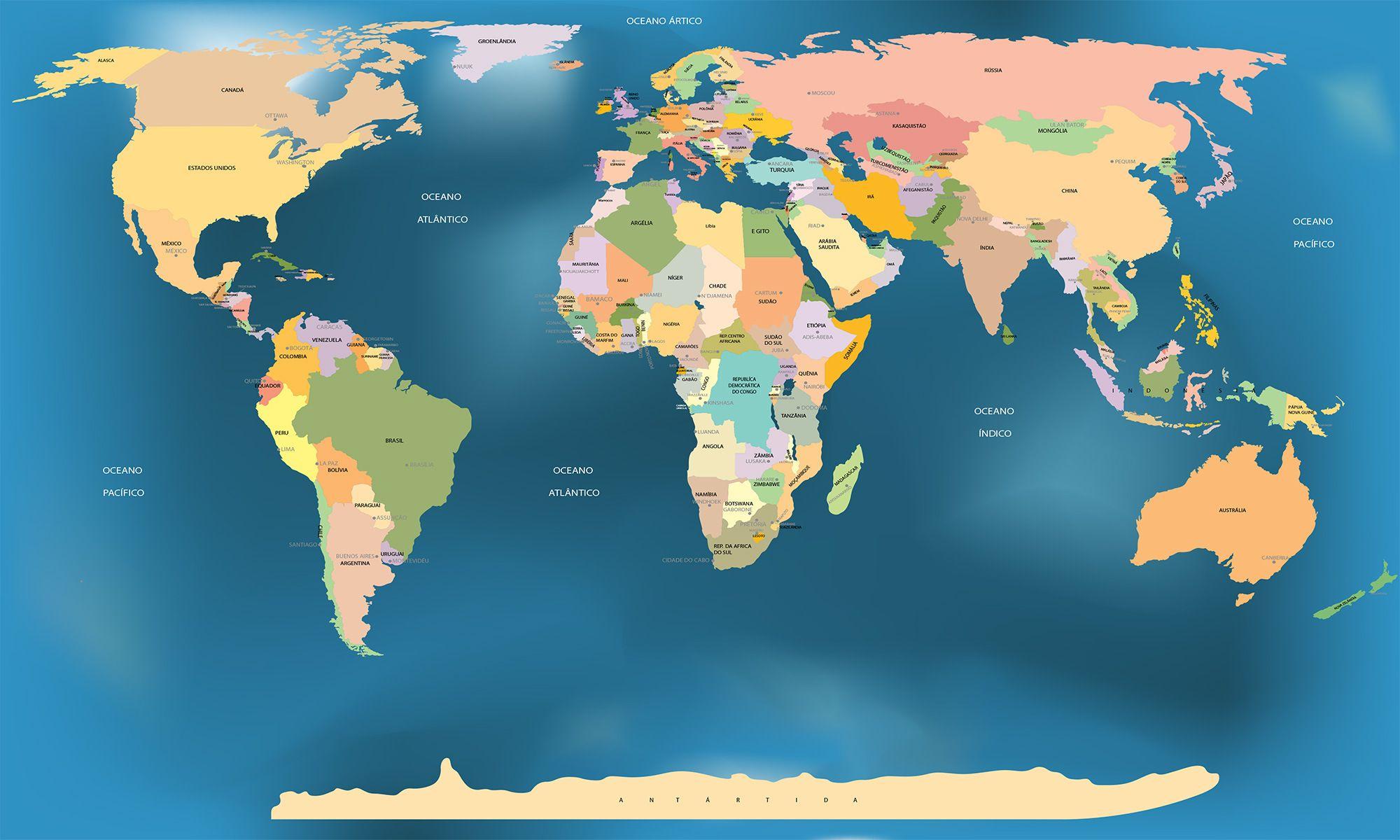 Mapa Mundi Com Os Nomes Dos Paises E Capitais Fundo