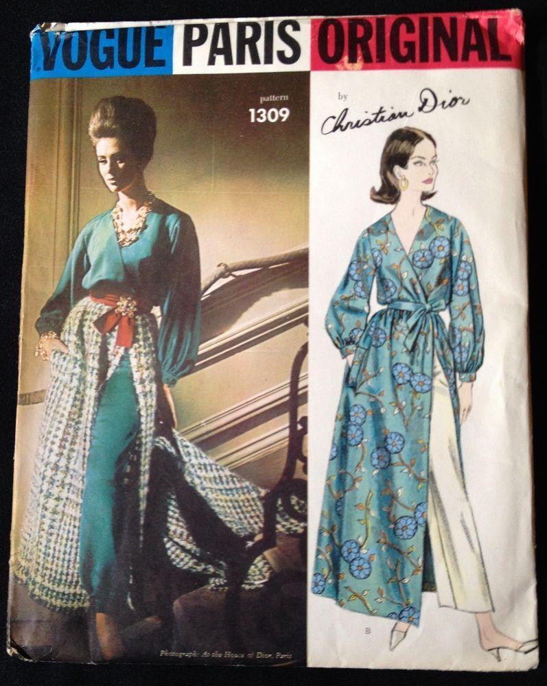 VTG \'DIOR\' 1960s Vogue Paris Original Hostess Pajamas #1309 Uncut ...