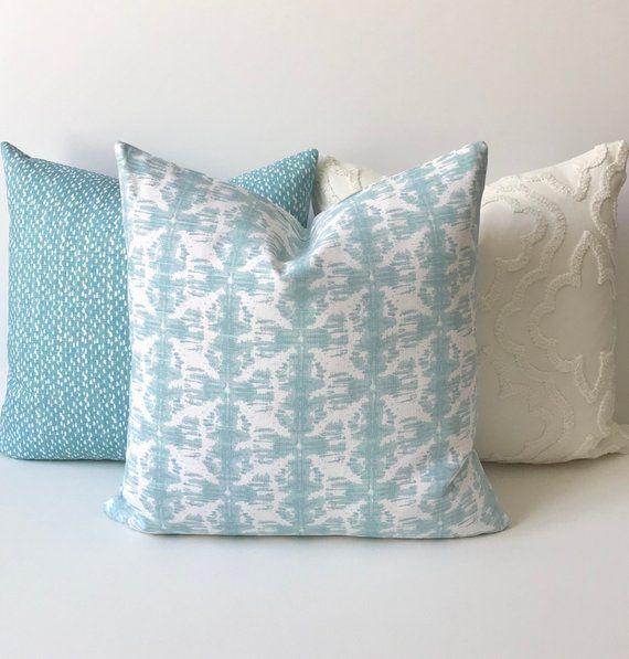Mineral blue, aqua, white ikat nobu decorative pillow cover
