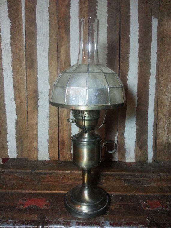 Vintage Empire No 2 Electric Gwtw Gone With The Wind Capiz Shell Shade Table Lamp Gl Hurricane Chimney