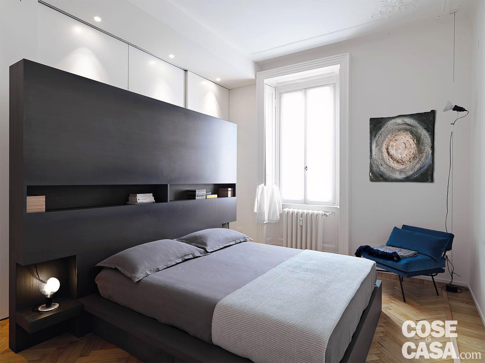 110 mq con una parete in vetro per dividere soggiorno e corridoio e con la cabina armadio dietro - Parete camera letto ...