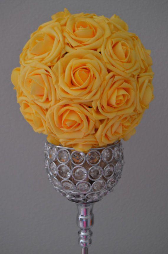 Yellow flower ball yellow kissing ball yellow pomander yellow yellow flower ball wedding centerpiece luxury by kimeekouture mightylinksfo
