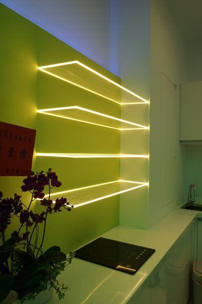Kombinieren Sie Acryl-Regale und LED-Balkenleuchten und verwandeln - led panel küche