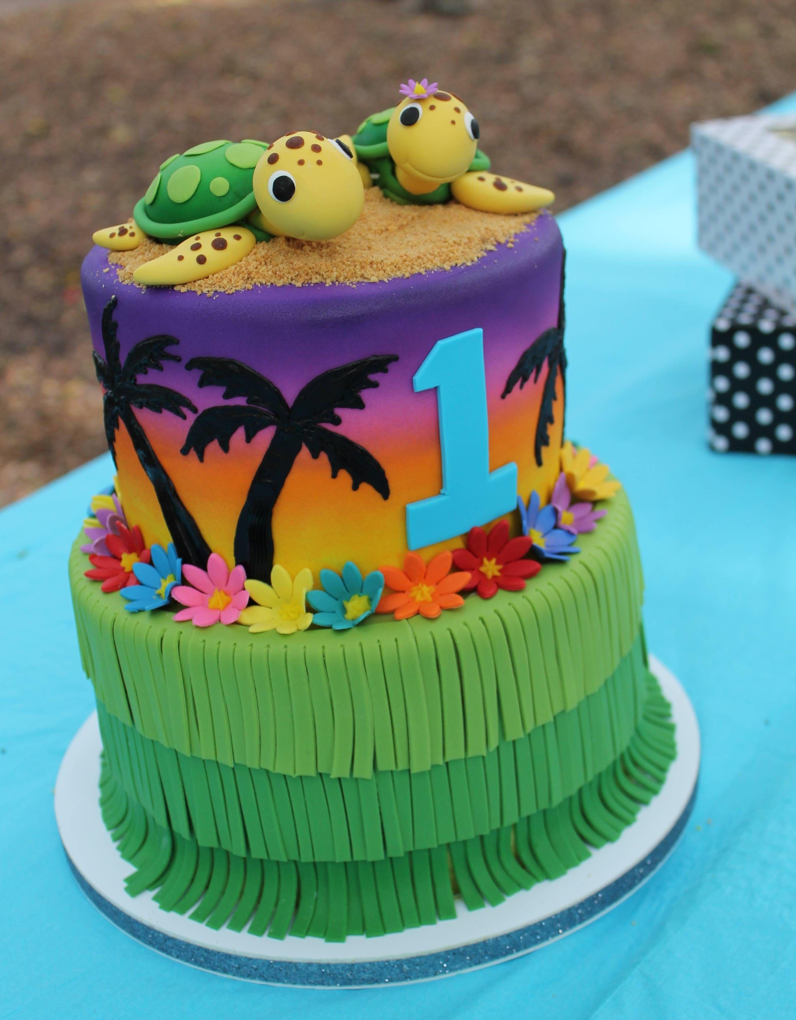 Hawaiian theme sugar flowers long surfboard girl birthday cake