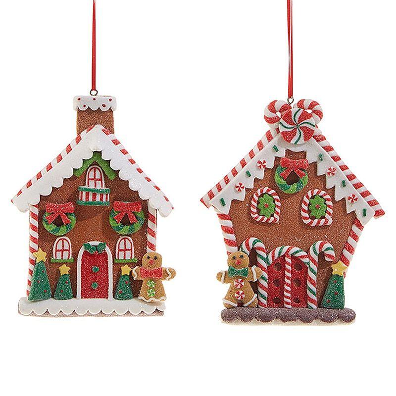 "Raz 5"" Flat Claydough Gingerbread House Christmas Ornament"