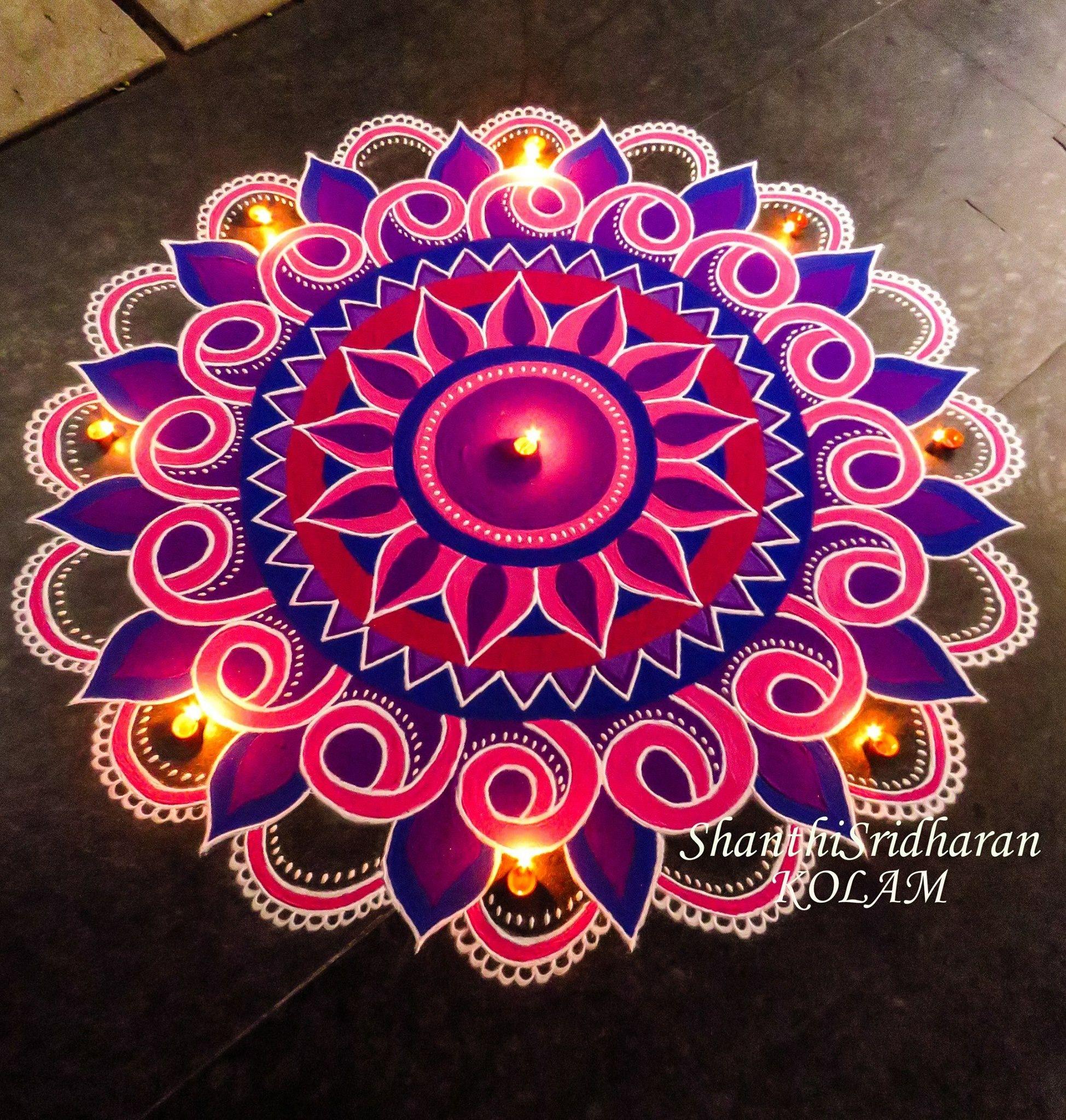 #mandala#kolam#pink#purple#kolam | Rangoli designs diwali ...