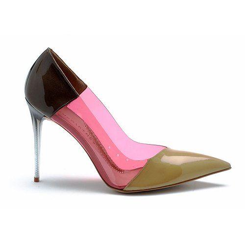 Stella McCartney  Shoes   Stella McCartney Vinyl Panel Leatherette Pumps (9, Olive/Pink)