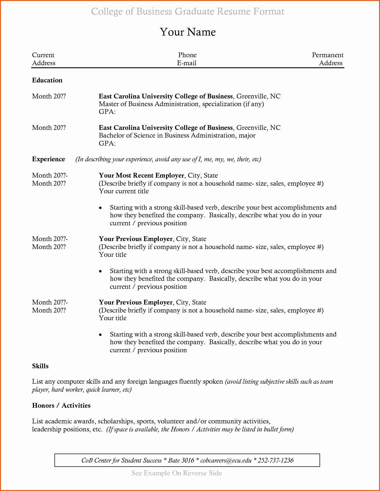 Recent Graduate Resume Template Elegant Resume for Recent