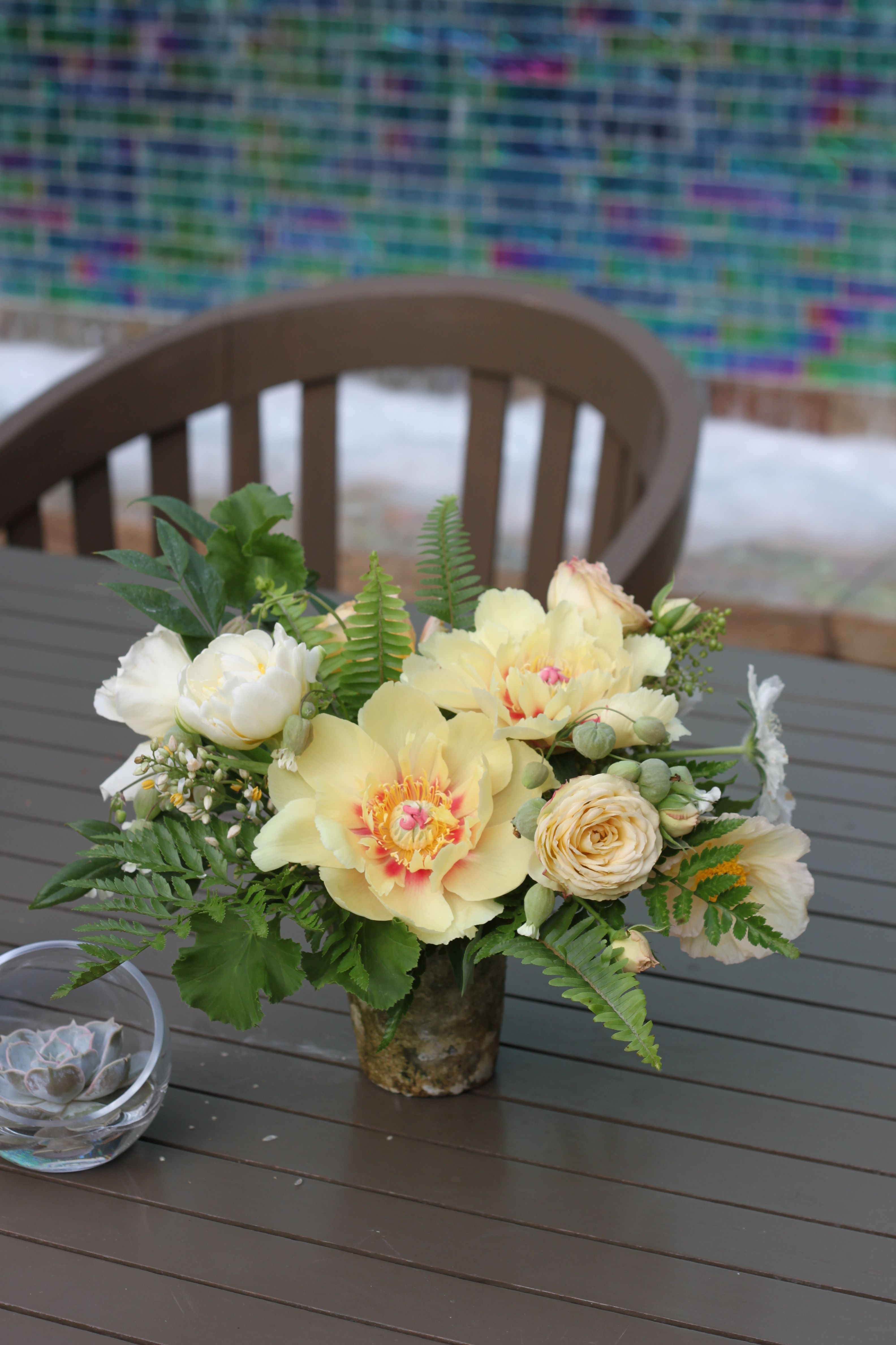 Rustic Vase With Yellow Peonies Yellow Garden Roses Fern And Other