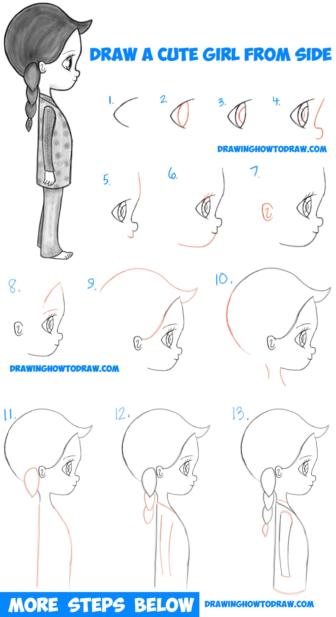 How to draw a cute chibi manga anime girl from the side view easy