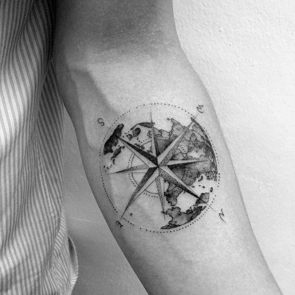 Unterarm tattoo kompass männer Kompass tattoo