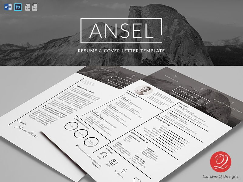 Ansel - Resume and Cover Letter Template - for Photoshop and - professional photographer resume