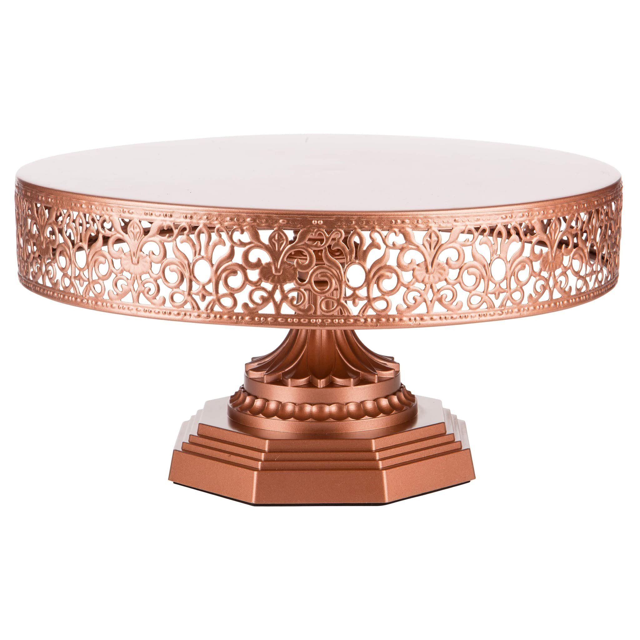 12 Inch Round Metal Wedding Cake Stand Rose Gold Rose Gold Kitchen Rose Gold Decor Metal Cake Stand