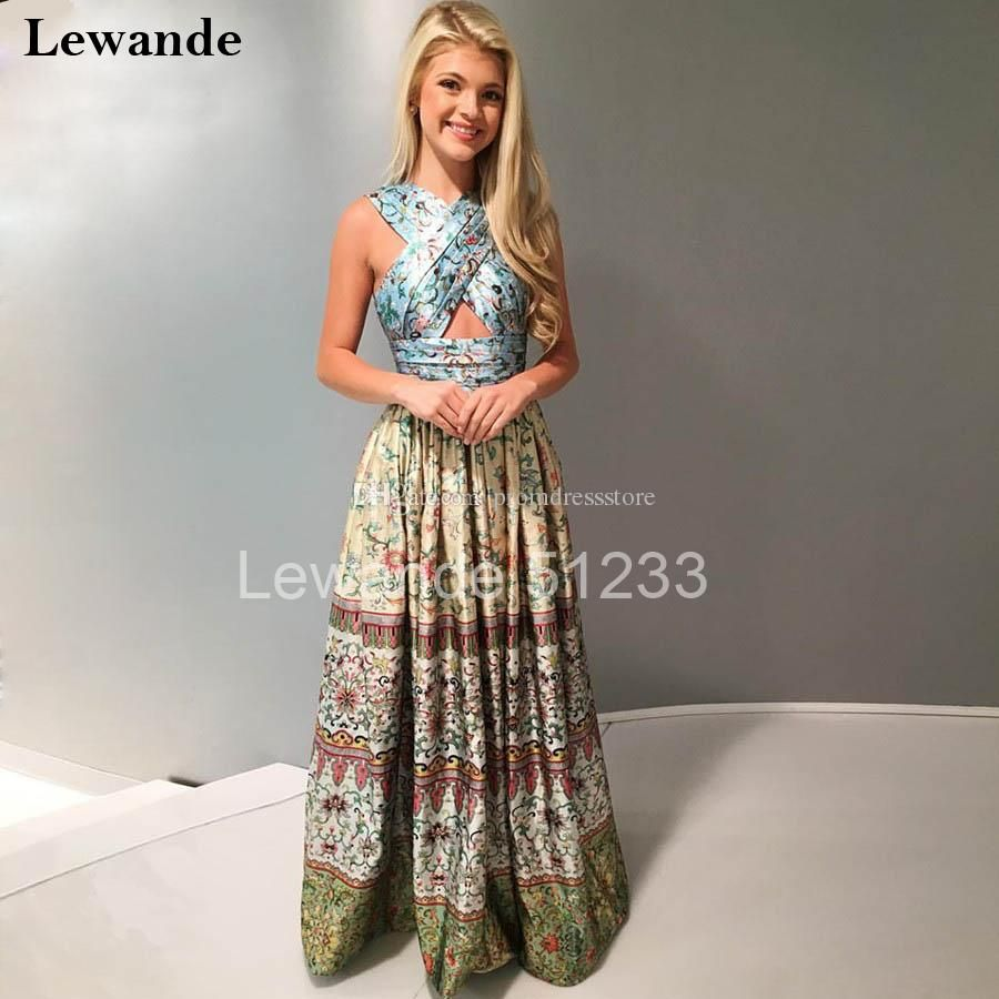 Keyhole multi pattern printed crisscross sexy prom homecoming dress