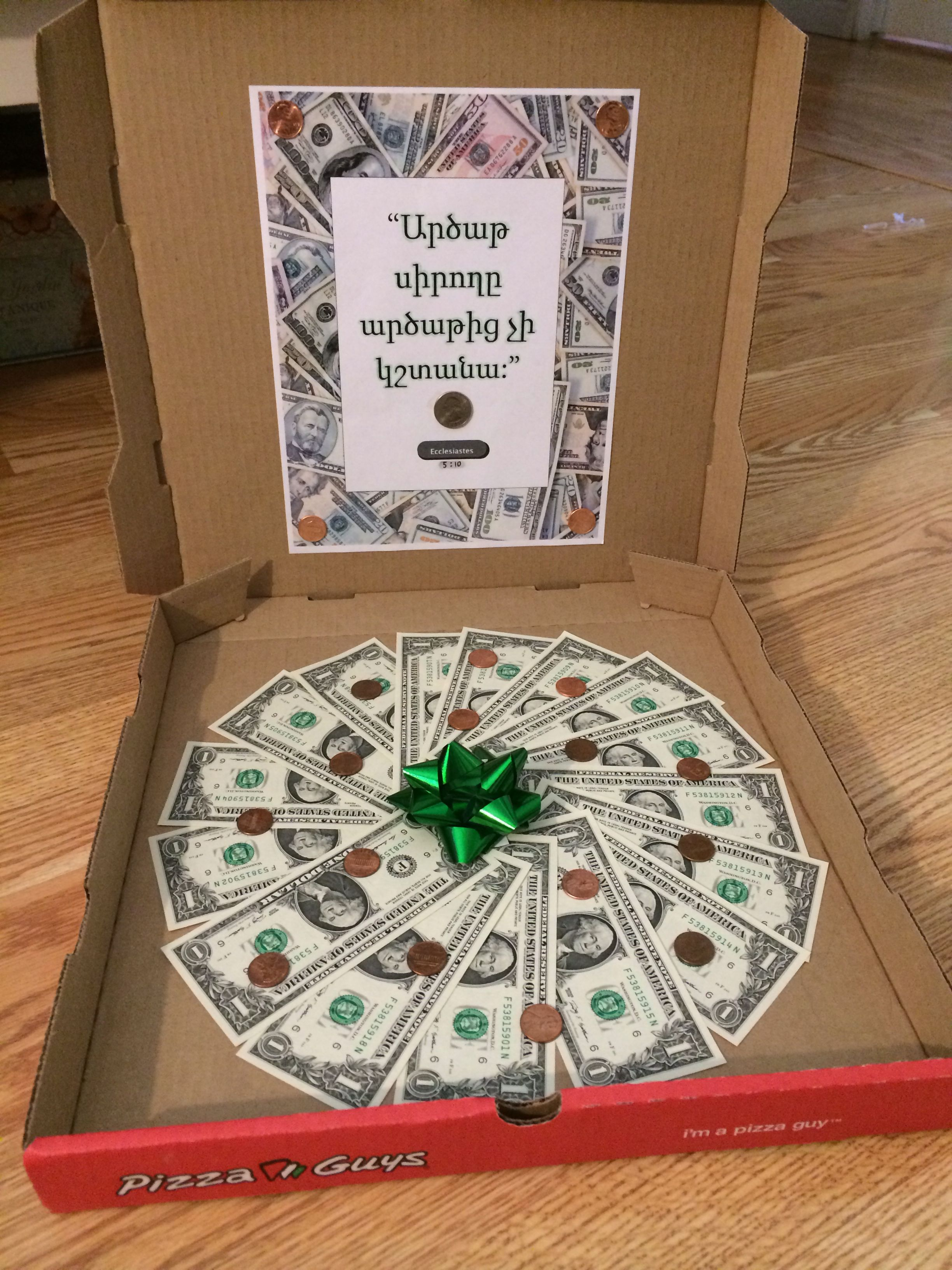 Graduationbirthday Gift Ideas, Money Pizza Used Quote From Bible Ecclesiastics