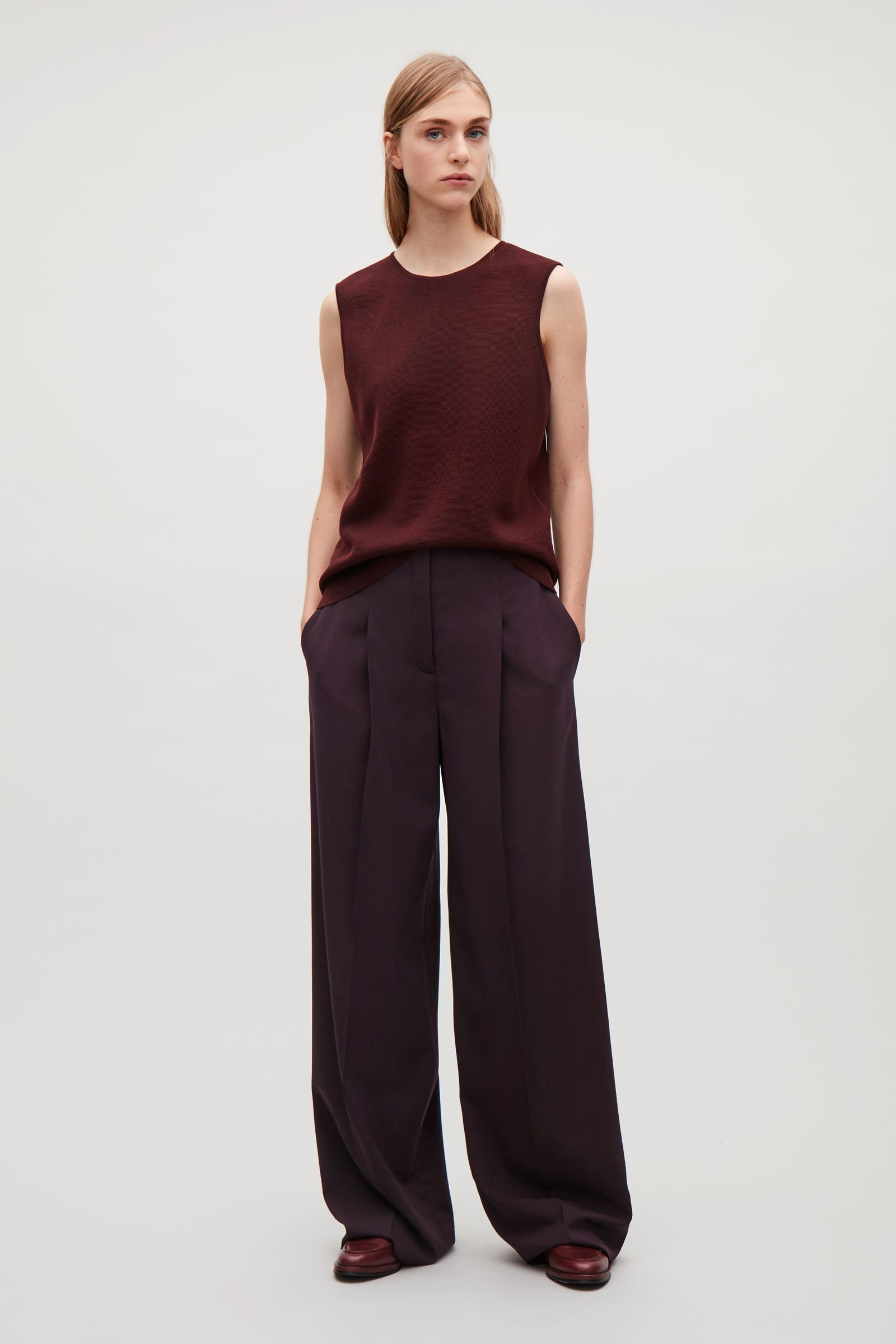 85e77604dba8 COS Wide-leg trousers with press folds in Plum   style :: clothes ...