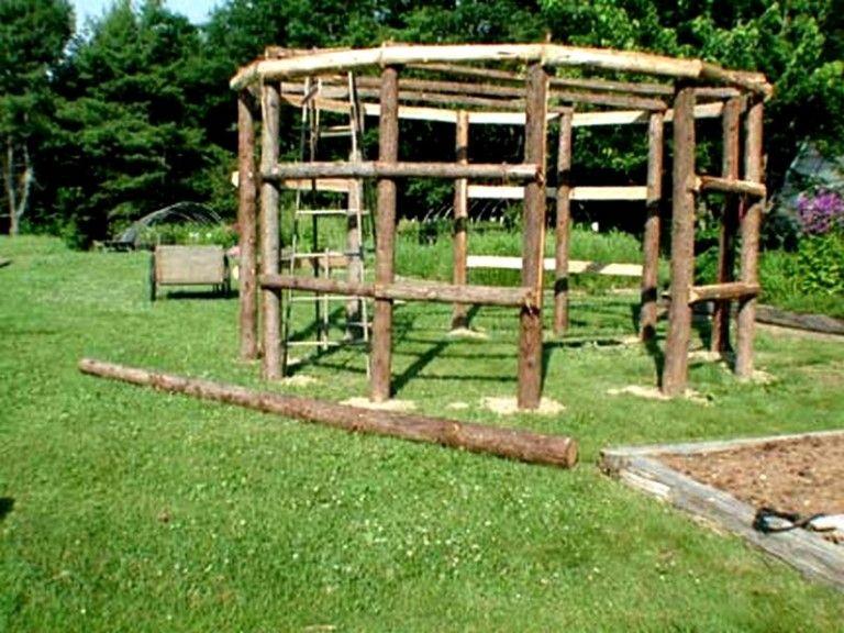 treille en en rondin de bois   Treillis, Tonnelle jardin, Idées de treillis