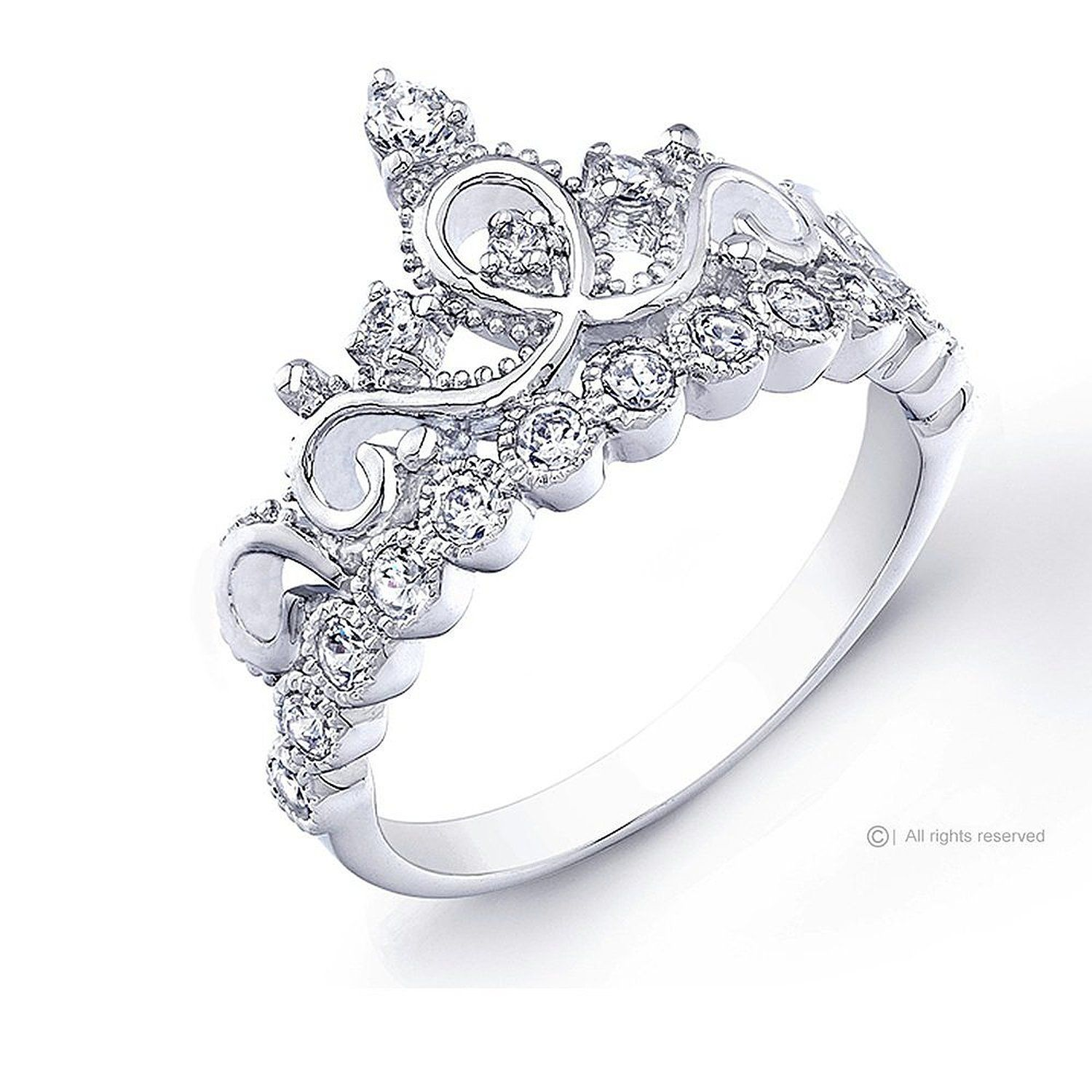 Size 5 Cause I M Your Princess Amazon Com 925 Sterling Silver Princ White Gold Engagement Rings Unique White Gold Diamond Engagement Ring Unique Diamond Rings