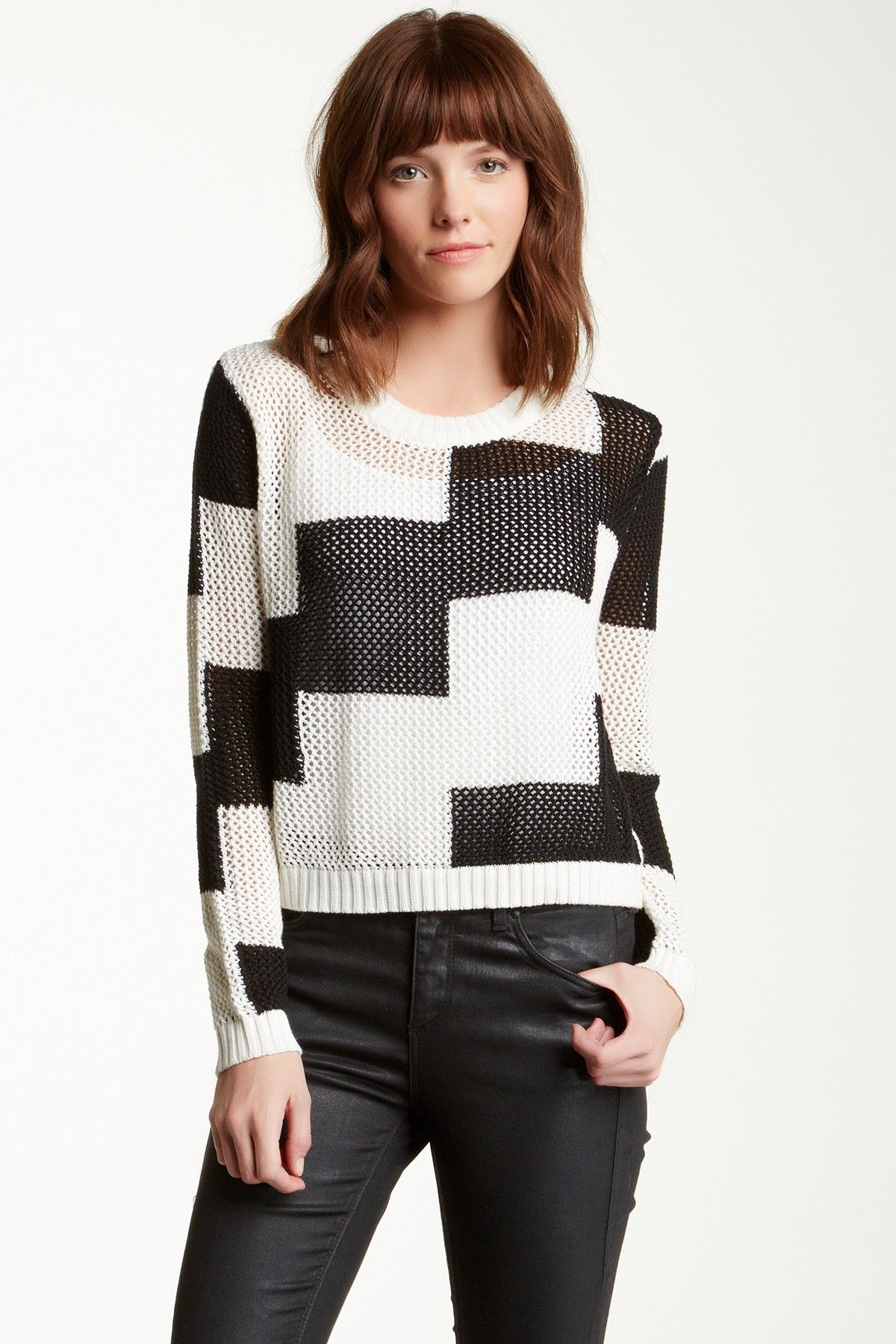 Endless Rose Macro Checkered Open Knit Sweater Juniors Rose