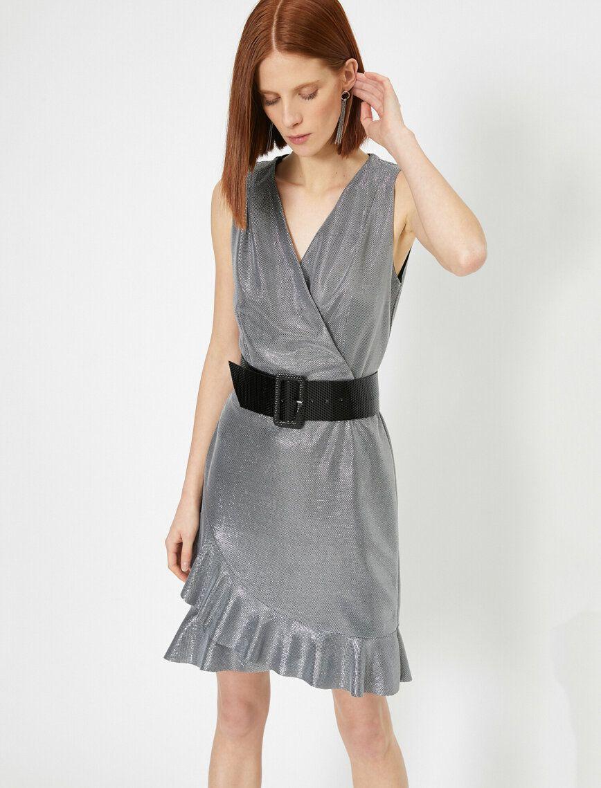 Leopar Desenli Bayan Simli Kruvaze Volanli Kolsuz Mini Elbise 0yak84154fkld1 Koton 2020 Mini Elbise Elbise The Dress