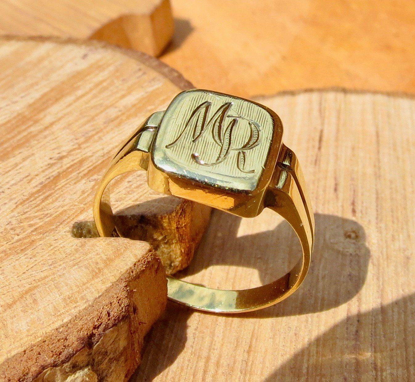 14K yellow gold engraved ring ring, Gold