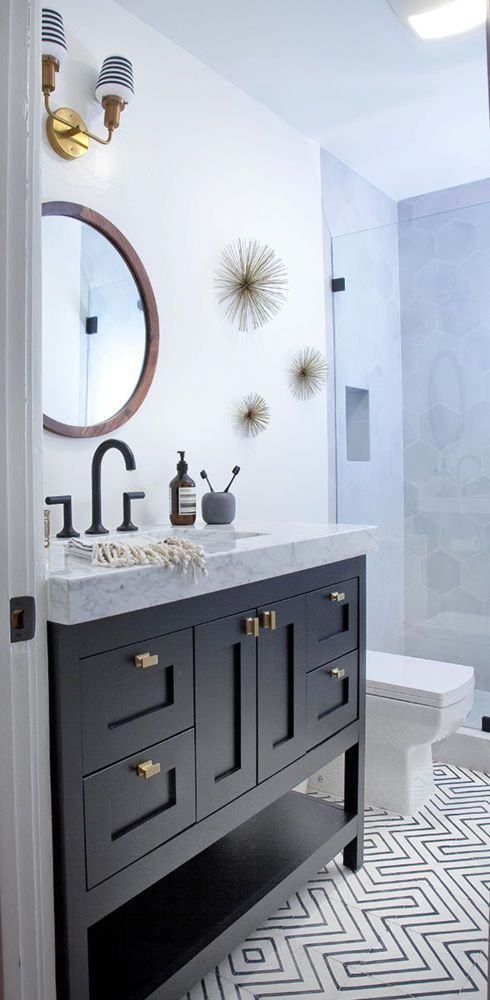 Elegant Dark Vanity In Small Bathroom