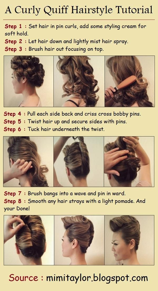 Diy Stylish Curly Quiff Hairstyle Alldaychic Hair Styles Hair Tutorial Quiff Hairstyles