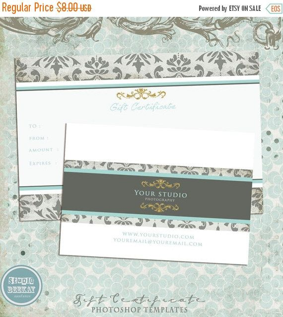 Photography Gift Certificate Template  Instant Download