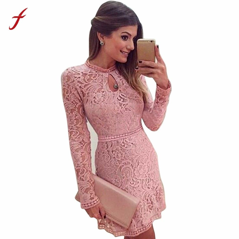 32c5a80369995 Spring Summer Autumn Women Lace Casual Dress Long Sleeve Dresses ...