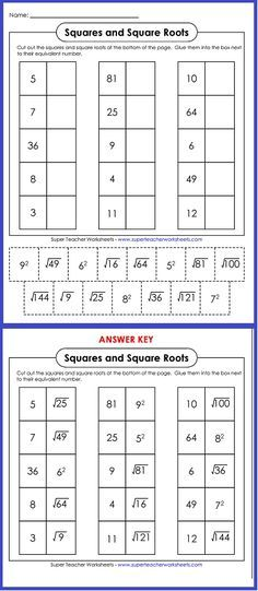 Try out this worksheet on squares and square roots! | math