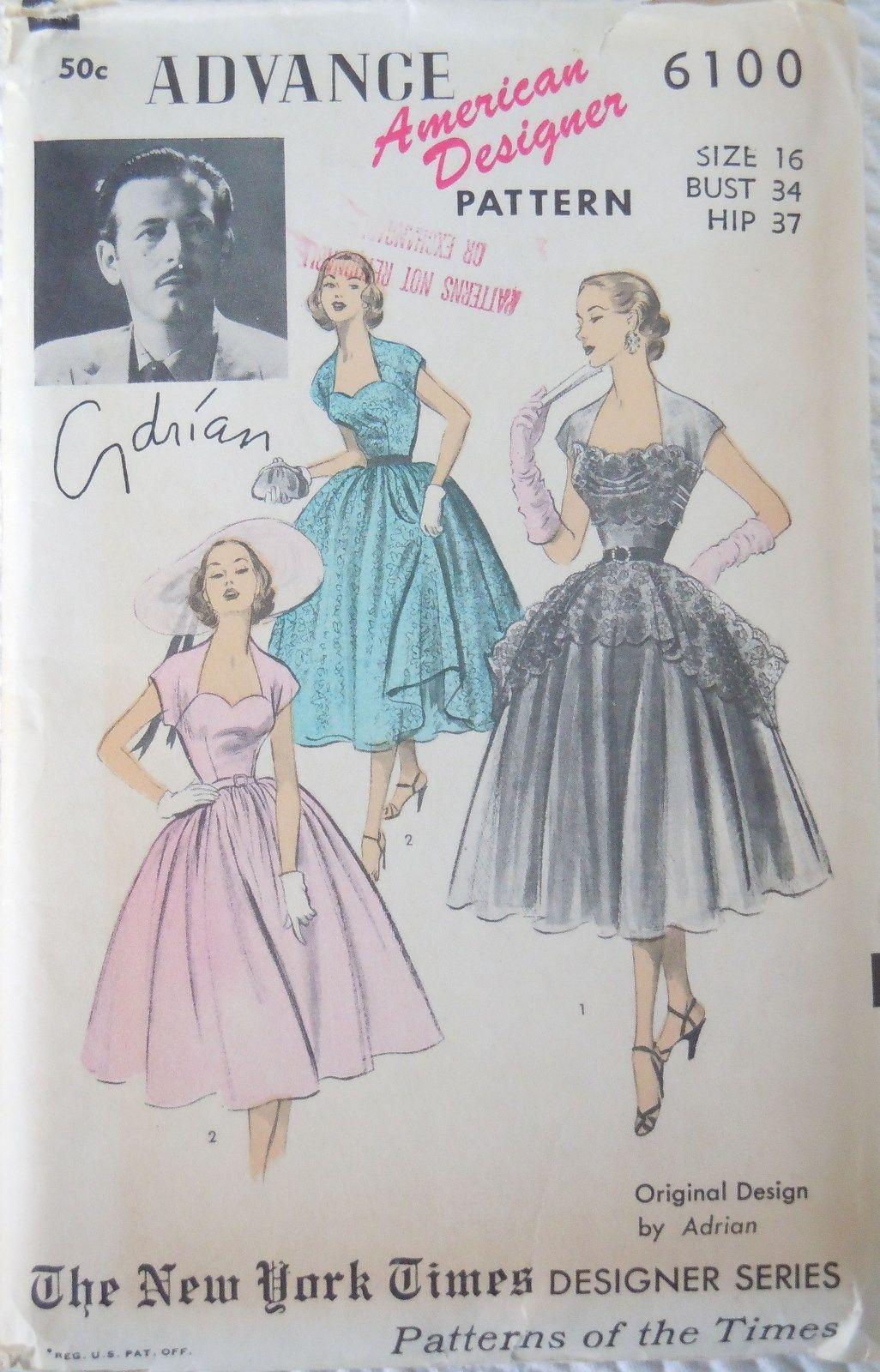 1bc9737e6fa9c RARE 1950 s Advance Pattern 6100 Designer Adrian Peplum Dress Factory  Folded