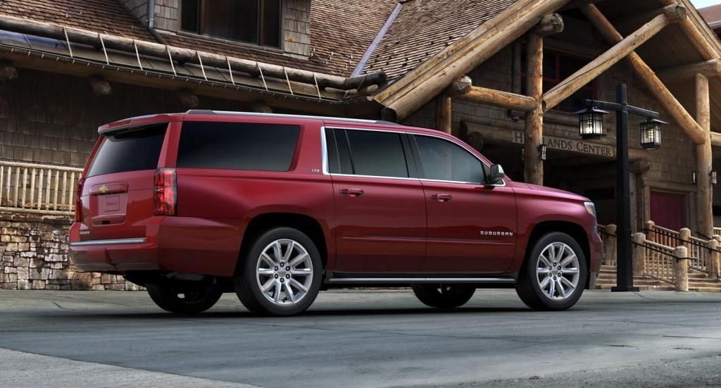 2017 Chevrolet Suburban Side Angle Red Color Alloy Wheels