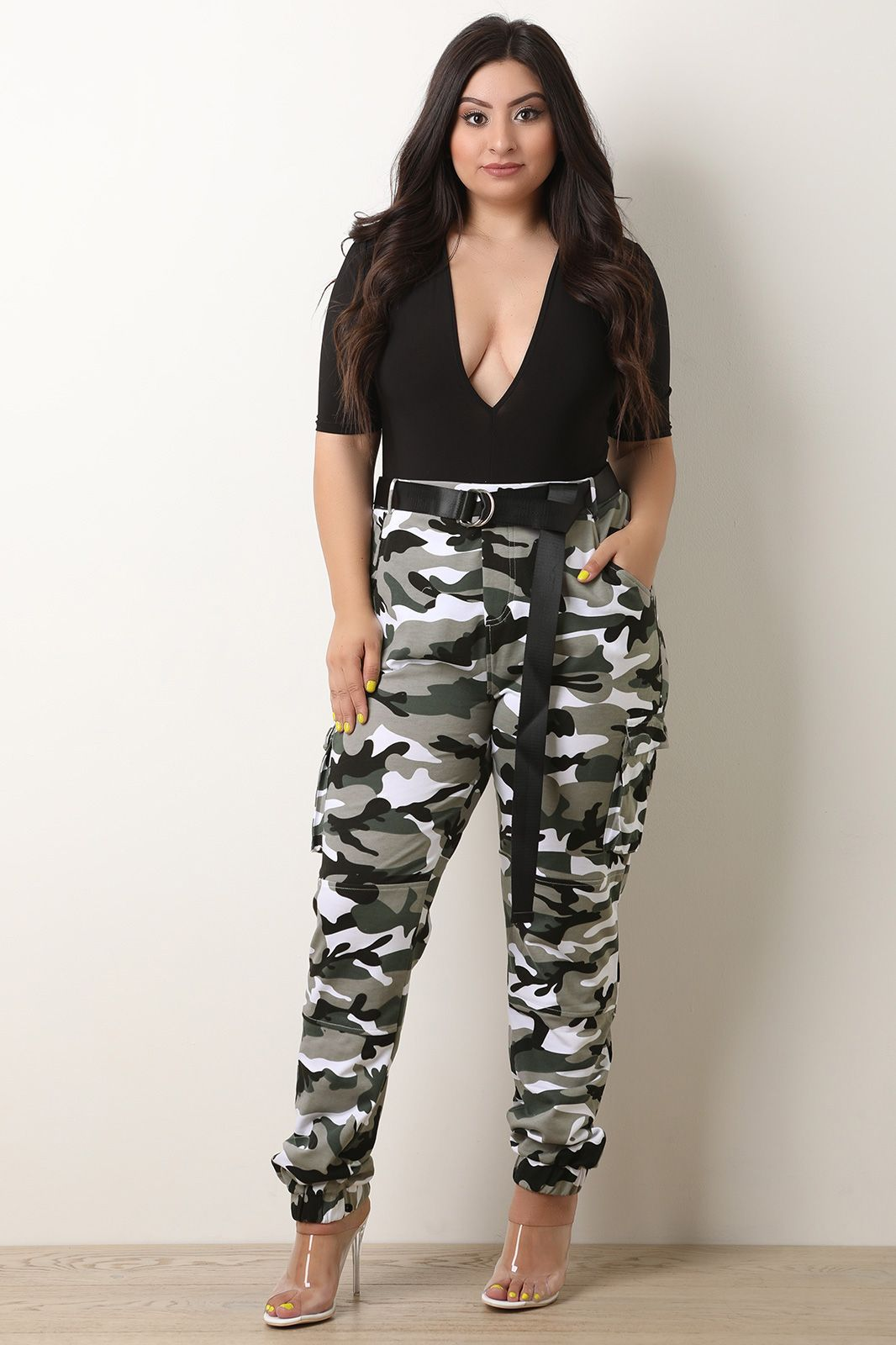 closer at shop for genuine aliexpress Plus Size Belted Camo Cargo Pocket Jogger Pants | UrbanOG ...
