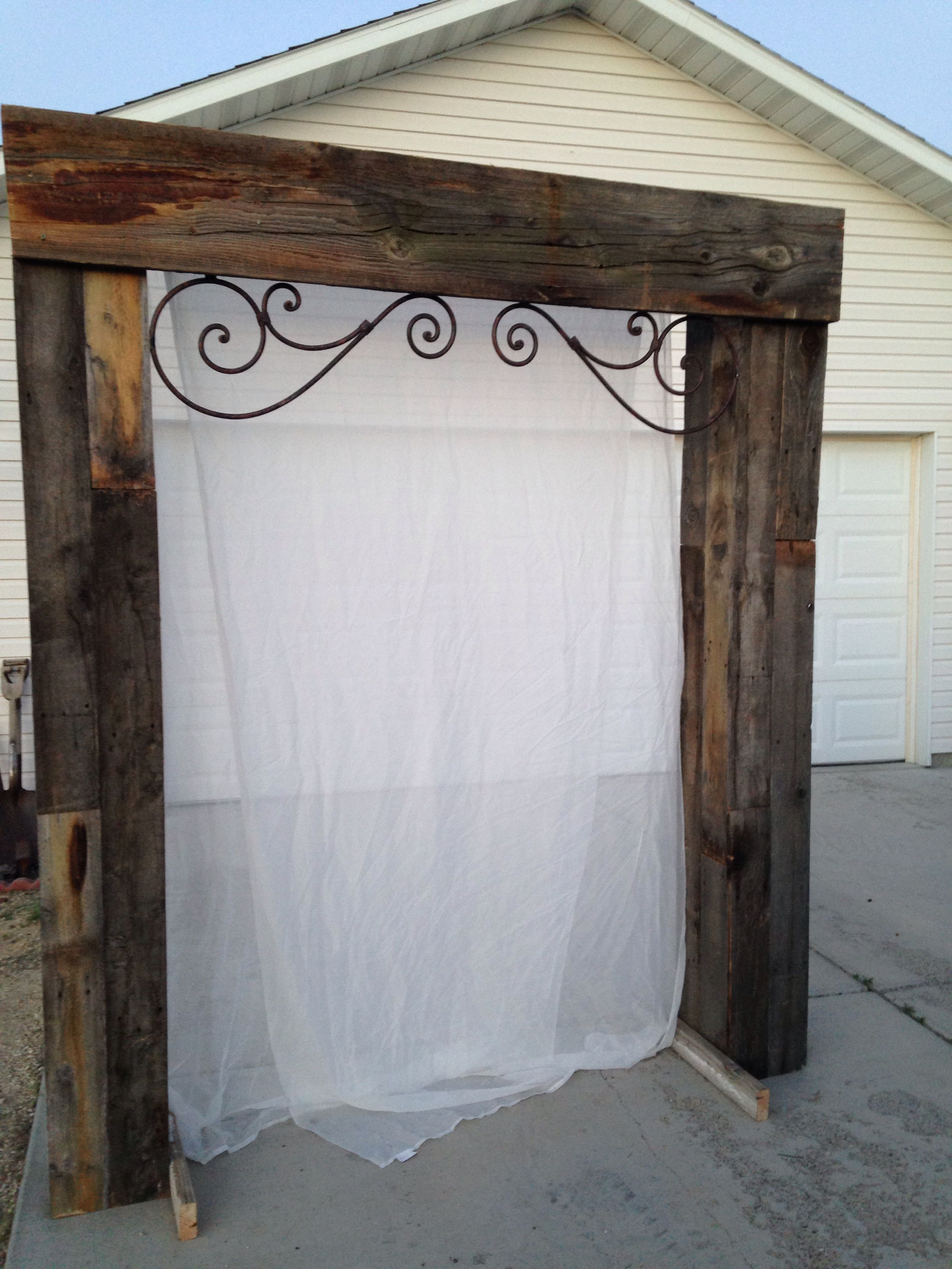 Wedding decorations arch  Reclaimed wood wedding arch This was such a fun project
