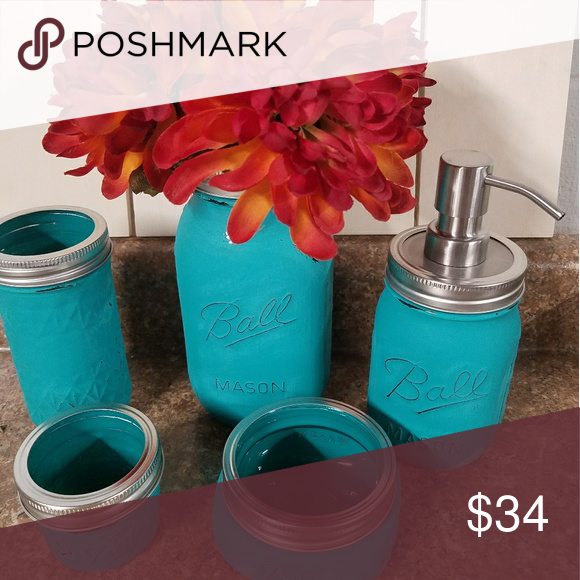 5 piece mason jar set 5 piece mason jar bathroom set. This gorgeous turquoise set would be a perfect addition to any bathroom. Accessories