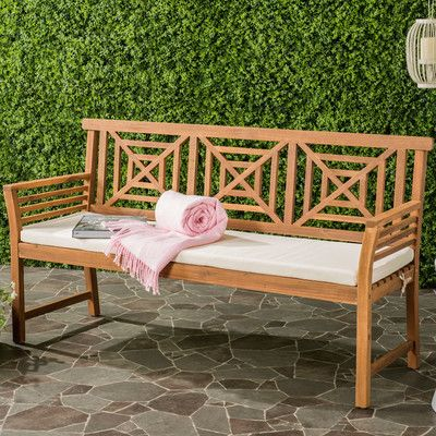 Darby Home Co Garrity 3 Seat Acacia and Polyester Garden Bench Finish: Teak Brown/Beige