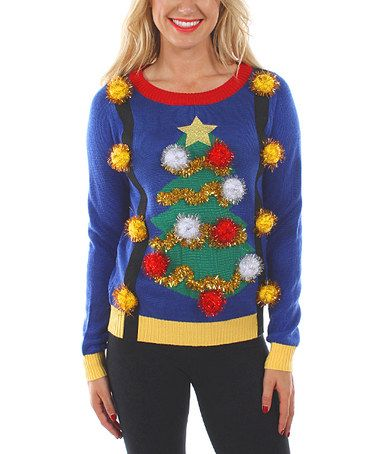 Loving this Blue Christmas Tree Pom-Pom Sweater - Women on #zulily