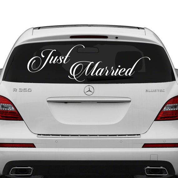 Just married vinyl car decal design wedding cling banner just married vinyl car decal design wedding cling banner decoration quote sticker decals back junglespirit Image collections