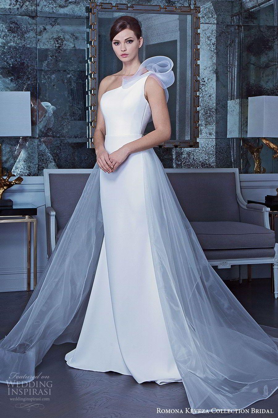 ea7b65db138ca romona keveza fall 2019 bridal sleeveless one shoulder sheath wedding dress  a line sheer overskirt chapel