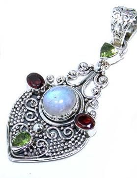 Beautiful item with Rainbow Moonstone, Mixed Faceted Stones Gemstone(s) set in pure 925 sterling silver.