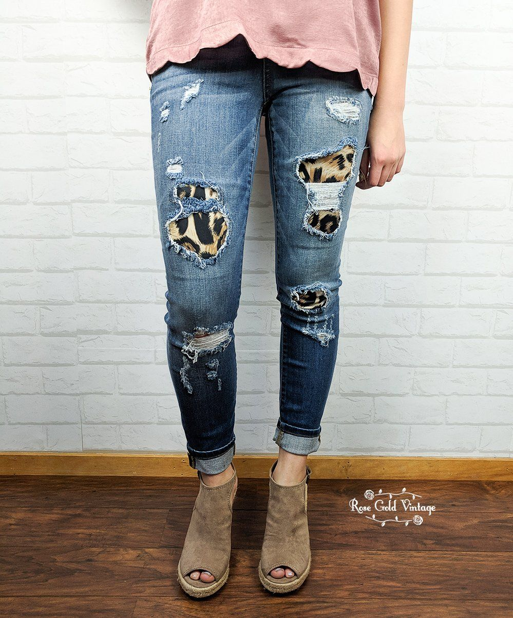f5b8d92b1ffa Leopard Patch Distressed Jeans by Judy Blue - size 3 only in 2019 ...